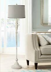 Shabby Chic Floor Lamp Antique White Platinum Gray Silk Shade for Living Room $179.99