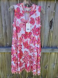 Simply Southern Trapeze Dress size Small with tassels. Pink hibiscus. $19.00