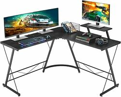 L Shaped Gaming Desk 51quot; Home Office Desk with Round Corner Computer Desk US $67.99