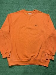 NWOT Vintage Y2k Nike Orange Mini Swoosh Grey Check Crewneck Sweatshirt Size XL