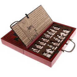 Vintage Antique Style Wooden Folding Chess Set Warrior Board Pieces Carved $39.95