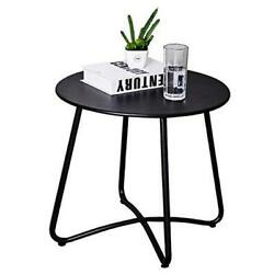 Patio Side Table Outdoor Small Round Metal Side Table Waterproof Black $63.77