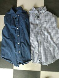 2 UNTUCKit Boys Size 12 Shirts Long Sleeve Plaid amp; Triangles Blue Navy White $26.99