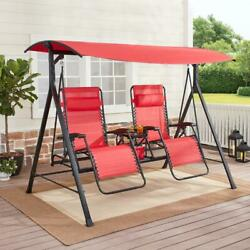 Zero Gravity Outdoor Reclining Swing with Canopy Sturdy Steel 2 Seaters Patio $318.99