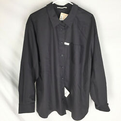 NEW Foxcroft Shirt Black Plus Size 24W Button Front Wrinkle Free NWT