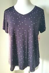Womens Short Sleeve V Neck Polka Dot Jersey Tee Black Plus Size 2X NWT*