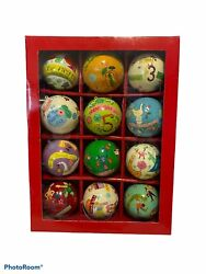 Crate and Barrel 12 Days of Christmas Ornaments Paper Mache Complete Set $39.99