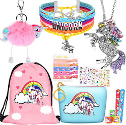 Unicorn Gifts For Girls Teen Necklace Bracelet Jewelry Hair Ties 8 Pcs Backpack