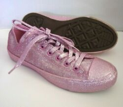 Converse Chuck Taylor All Star Womens Size 8 Pink Glitter Low Top Shoes 162993C $37.95