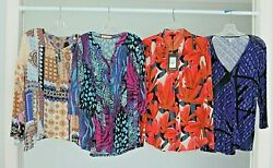 4 Women#x27;s Designer Shirts Tops Blouses LOT All Size LARGE EUC