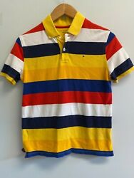 GUC Tommy Hilfiger BOYS Size L 12 14 Polo Shirt Navy Striped Cotton Logo Flag $6.75