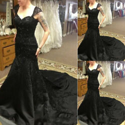 Mermaid Black Gothic Wedding Dresses Strap Sweetheart Beaded Vintage Bridal Gown