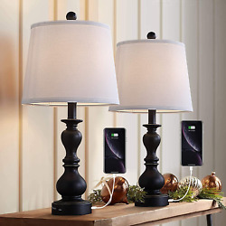 Resin Table Lamp Sets of 2 for Bedroom Living Room Plug in Bedside Nightstand 2 $107.87