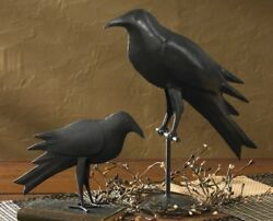 Primitive Country Rustic Hand Forged Black Iron Farmhouse Standing 6 1 2quot; Crow $19.99