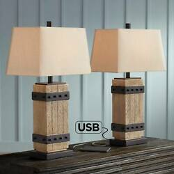 Rustic Table Lamp Set of 2 Faux Wood Faux Iron Off White Shade Bedroom Bedside $99.99