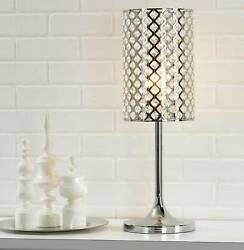 Modern Table Lamp Polished Chrome Crystal Insets Metal for Living Room Bedroom $89.99