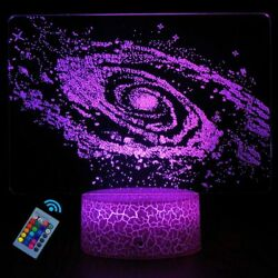 Galaxy 3D Led Night Light Remote Control USB Table Lamps for Kids Toy Xmas GIFT $7.28