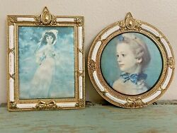 2 Vintage Wall Hangings Ornate Metal Frame Pinkie amp; La Femme Au Chat $12.99