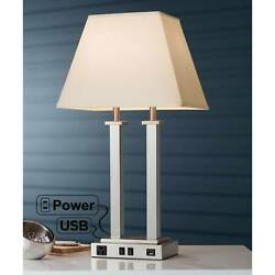 Modern Table Lamp with USB Brushed Steel Side Outlet for Bedroom Lamps Plus $119.95