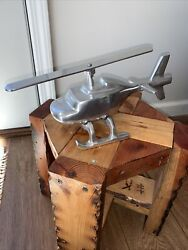 Decorative Helicopter Large Polished Silver Color Figure Movable Blades India $35.00
