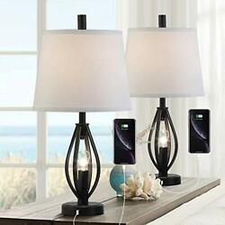 Modern Farmhouse Table Lamp Sets of 2 with 2 USB Ports Black With Gold Finish $148.39