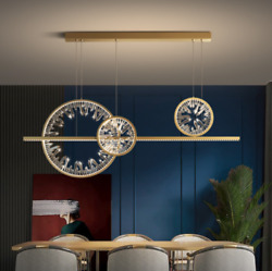 Modern Crystal Chandelier Gold Ring Light Dining Room Creative Ceiling Fixture $492.00