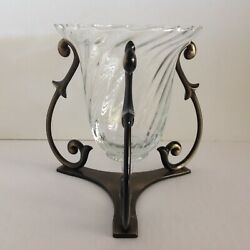 P0468GP0468B Partylite SOLILOQUY Optic Glass Globe Bronze Base Candle Holder $29.99