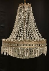 """Antique French Empire Crystal Beaded Basket Chandelier Brass 8 Light 24"""" Wide $1600.00"""
