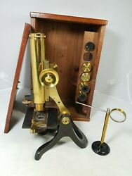Henry Crouch London Brass Antique Microscope No. 2955 with box and extras $499.00