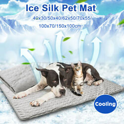 Pet Cats Dog Cooling Mat Washable Waterproof Pad Ice Silk Self Cooling K M $13.41