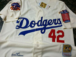 Dodgers #42 Jackie Robinson cooperstown Limited Edition Patch sewn Jersey Ivory $53.94
