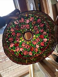 Brick Antique Vintage Leaded Glass Hanging Light Shade 19 W By 8.25H Tulips $625.00