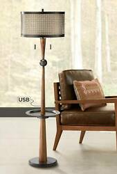 Rustic Vintage Floor Lamp with Table and USB Bronze Faux Wood for Living Room $329.99