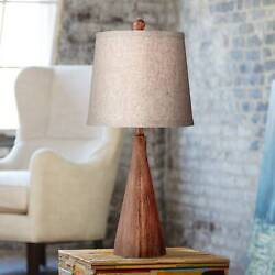 Mid Century Modern Table Lamp Wood Cone Oatmeal for Living Room Bedroom $44.99