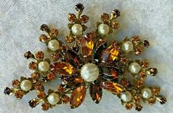 Large Mid century Amber Rhinestone Faux Baroque Pearl Flower Brooch 4quot; $22.23