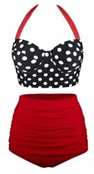 UniSweet Womens Two Piece High Waisted Bikini for Women Black red Size 5.0 $12.96