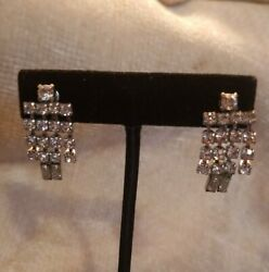 Gorgeous Vintage Icy Clear Rhinestone Chandelier Clip On Earrings Sparkly DH $17.09