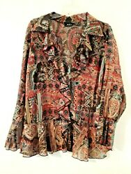 Women#x27;s MDS California 1X semi sheer long sleeve blouse boho look $5.99