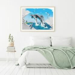 Dolphins amp; Abstract Wall Scenery Print Premium Poster High Quality choose sizes AU $74.92