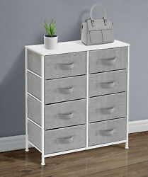 Dresser with 8 Drawers White Color Finish Wood Metal Bedroom Storage Furniture $142.58