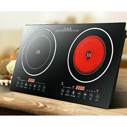 Portable Electric Induction Ceramic Countertop 2 Burner Cooktop 2400W 2600W $125.00