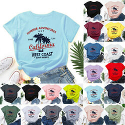 Plus Size Womens Crew Neck Summer Blouse Print Casual Top Soft Tee Basic T Shirt $10.99