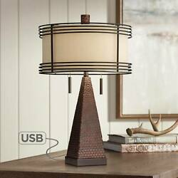 Industrial Table Lamp USB Rustic Hammered Bronze for Living Room Family Bedroom $139.99
