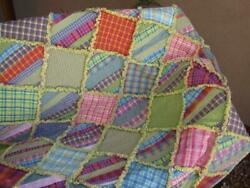 Rustic Country Charm Rag Quilt Scrappy Summer Green Yellow Blue Lavende $99.99