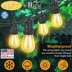 48FT Outdoor String Lights Waterproof Commercial Patio Globe Fairy Light Bulbs A
