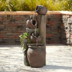 Rustic Outdoor Floor Water Fountain with Light LED 39 1 4quot; Cascading Yard Garden $299.99