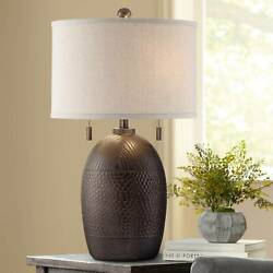 Rustic Table Lamp Hammered Bronze White Drum Shade for Living Room Bedroom $129.99