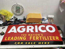 Heavy AGRICO THE NATION'S LEADING FERTILIZER FOR SALE HERE porcelain sign $695.00