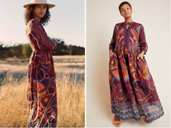 NWT 18W Anthropologie Maren Embroidered Maxi Dress Floral Boho Tribal Red PLUS $128.00