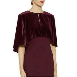 Velvet Shrug Wraps for Evening Party Plus Size Burgundy Wine Red Size One $9.99